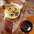SHENHUA Gold Skeleton Mechanical Watch Men Automatic Watch Leather Rhinestone Luxury Brand Wristwatch Business Dress Watches