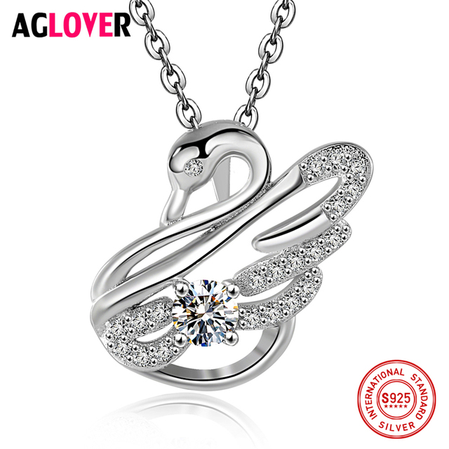 AGLOVER 925 Sterling Silver Necklace Women Charm Swan Pendant Necklace AAA  Crystal 18 inches Link Chain Female Jewelry