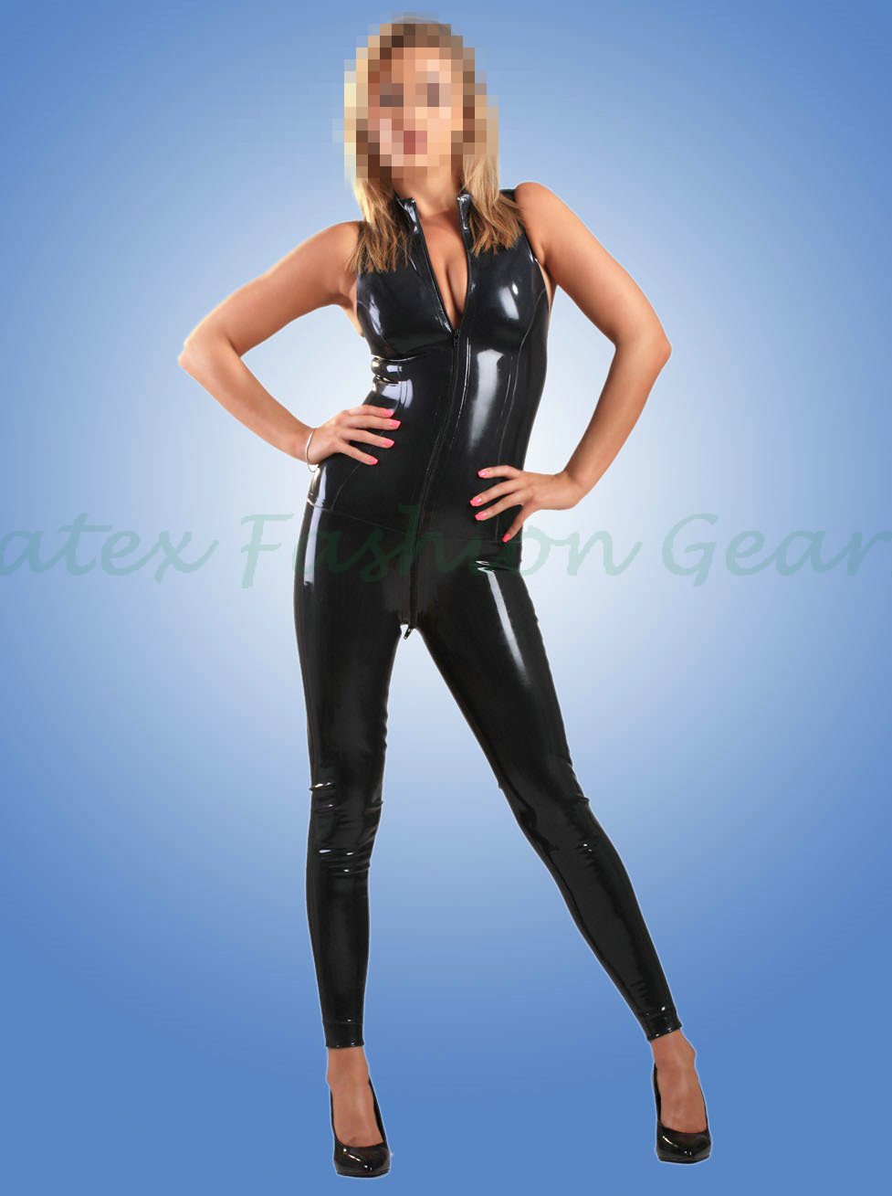 Handmade 0.4MM Thickness Black Rubber Catsuit Sleeveless Fetish Latex Vest Bodysuits made to measure