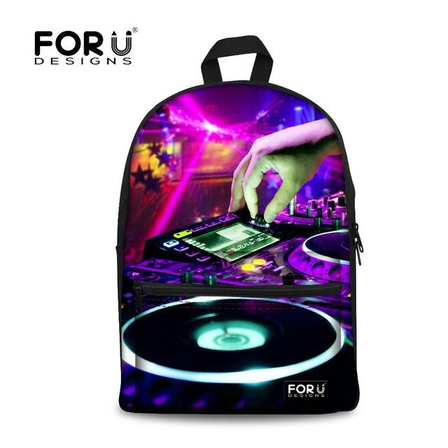 5a8bcbf130 Online Shop FORUDESIGNS Women Backpack DJ Music Printing Backpacks for Teenager  Girls