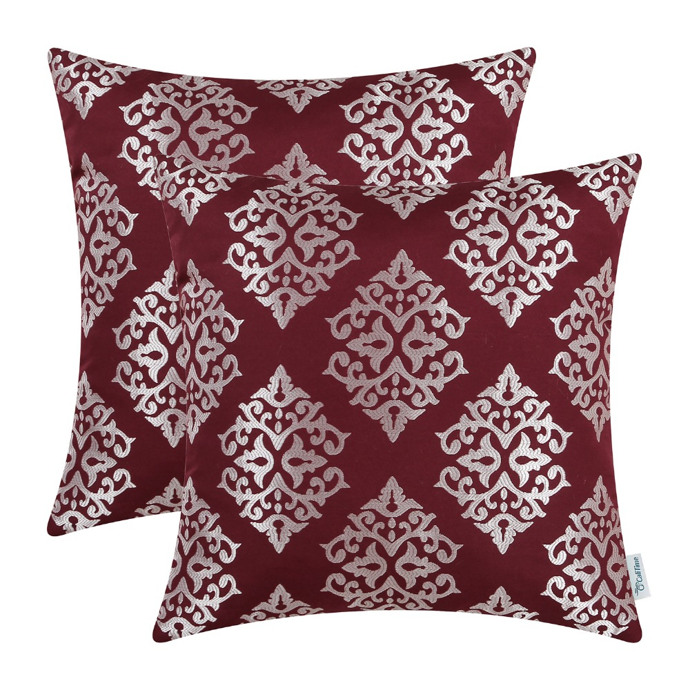 """Jacquard Throw Pillow Covers Cases Couch Sofa Home Decor Damask Florals 18 X 18/"""""""