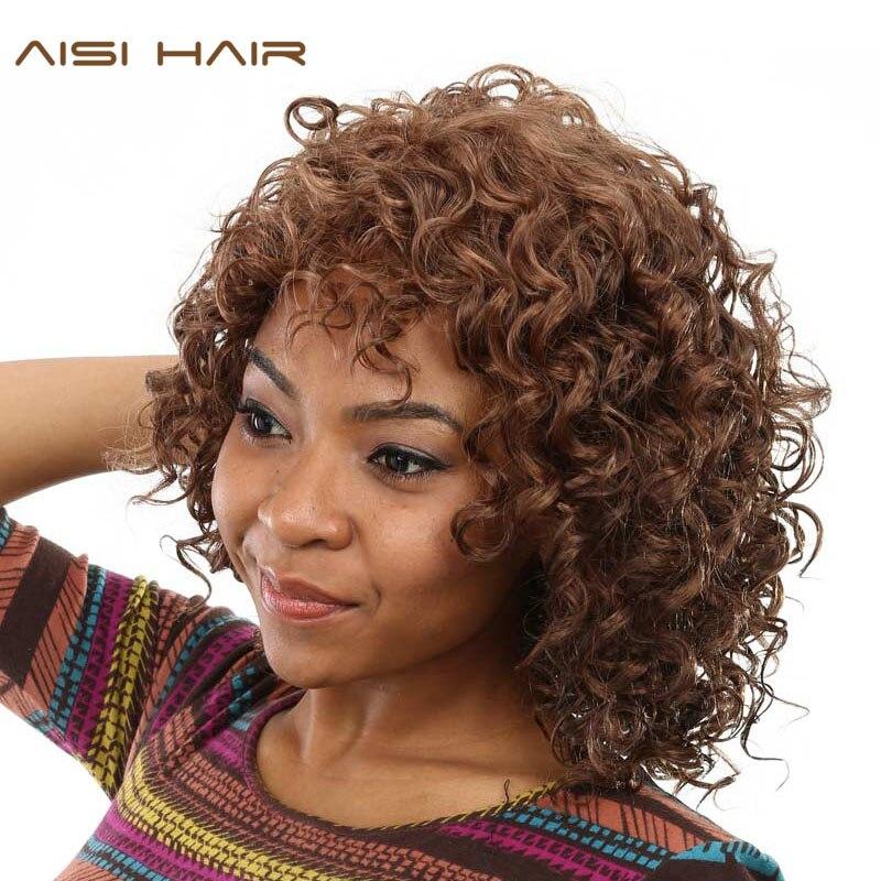 aisi pelucas sintticas para las mujeres negras del pelo afro rizado peluca marrn pelo corto con