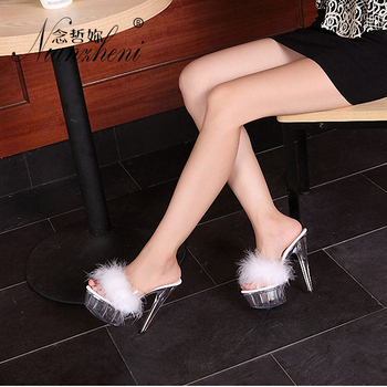 15cm Thin Heels White Transparent Crystal Fluffy Slippers Summer Shoes Wedding Shoes Vestidos De Fiesta De Noc 6 Inch Red Club