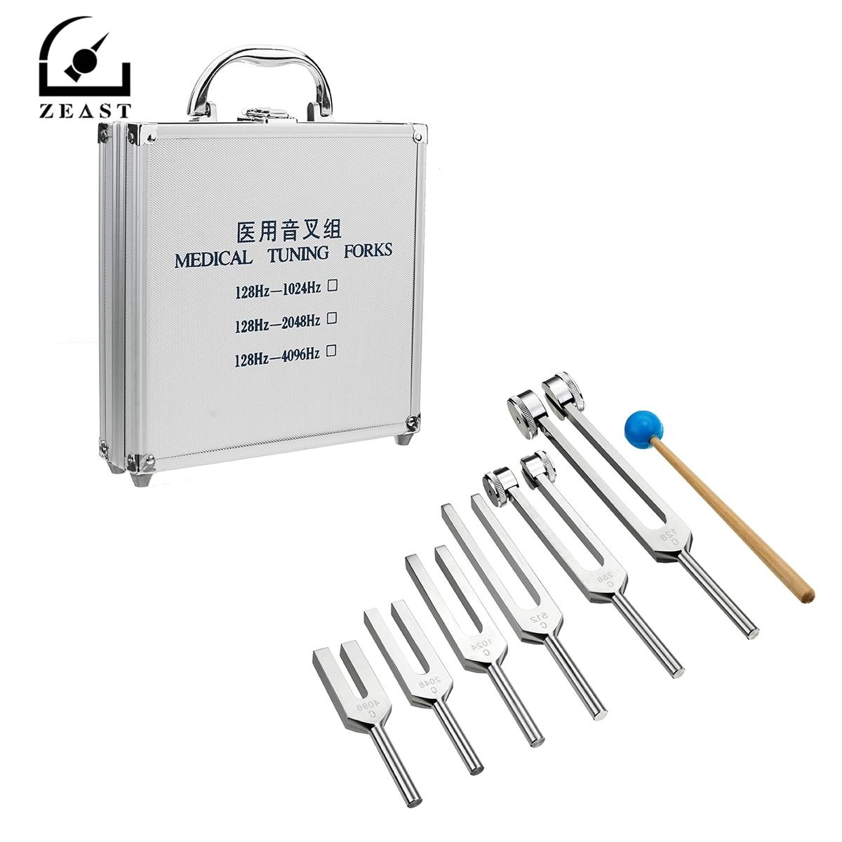 6 Pz Alluminio Medica 128-4096Hz Diapason Tools Kit Healing Terapia di Vibrazione del Suono w/Mallet