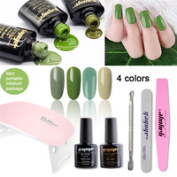 YAYOGE Nail Gel Polish Set 10ml 0.3oz 4colors Olive Green Series UV Gel Varnish Manicure For Nail Art