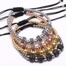 Mcllroy Zirconia Stoppers Bracelets 4mm beads color & 8mm Micro inlay zircon beads Braided Macrame Bracelets For Men Women(China)
