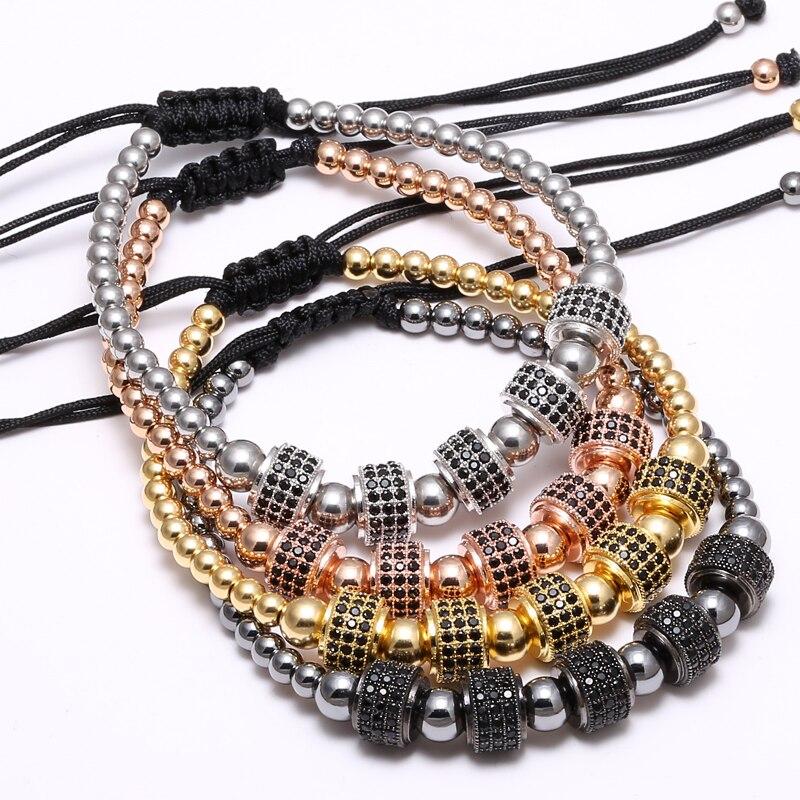 Mcllroy Zirconia Tappi Braccialetti 4 millimetri perle di colore & 8 millimetri Micro intarsio zircone perline Intrecciato Macrame Bracciali Per Gli Uomini delle donne