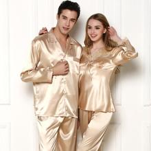 2015 autumn and winter exquisite silky pajamas male Ms. couple long-sleeved silk jacquard cardigan tracksuit really suit