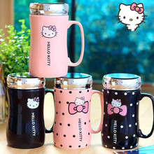 fa349dfd98d LM1142 Cartoon Hello Kitty Ceramic Water Bottles Lady Girl 430ML Water  Kettle Mug With Cup Mat