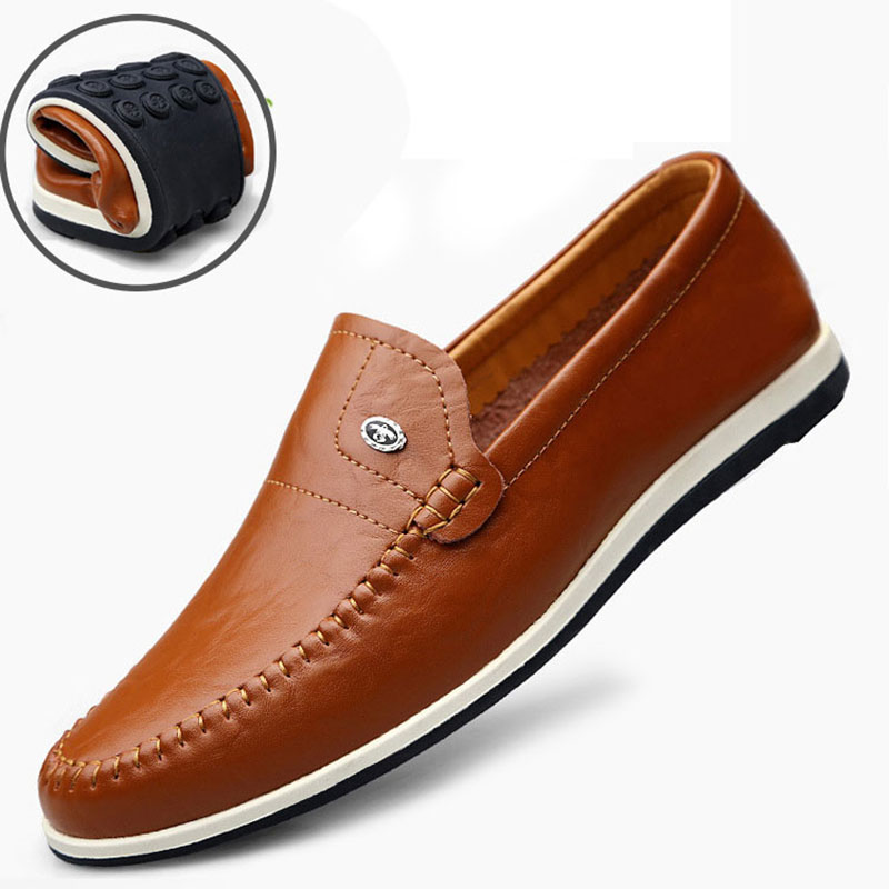 Autumn Slip On Loafers Casual Shoes Men Genuine Leather Flats Business Driving Shoes Official Soft Mocassin Homme Sneakers