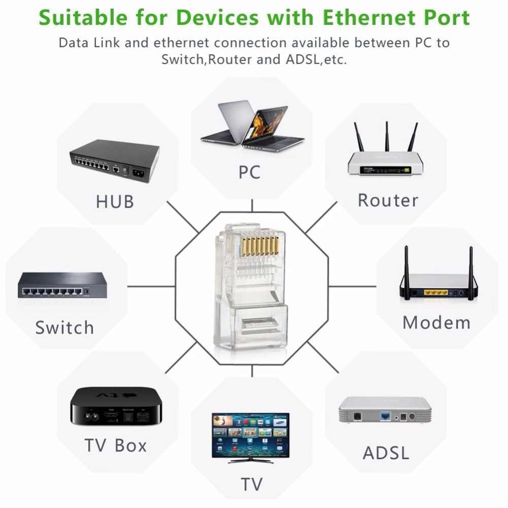 cat5 cat5e rj45 network connector 8p8c modular ethernet cable head plug gold plated crimp network rj45  [ 1000 x 1000 Pixel ]