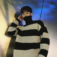 2017 New Winter Chic Simple Men Stripe Turtleneck Thickening Casual Batwing Pullovers Long Sleeve Warm Woolen Sweaters M-2xl