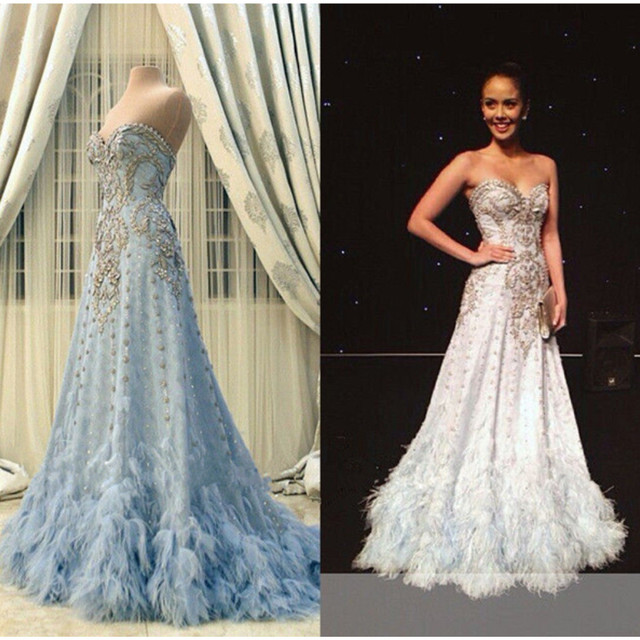 61616d838da MZCH08 Sweetheart Noble Crystal Blue White Wedding Dress Feathers A-line Bridal  Gown Formal Pageant Custom Size