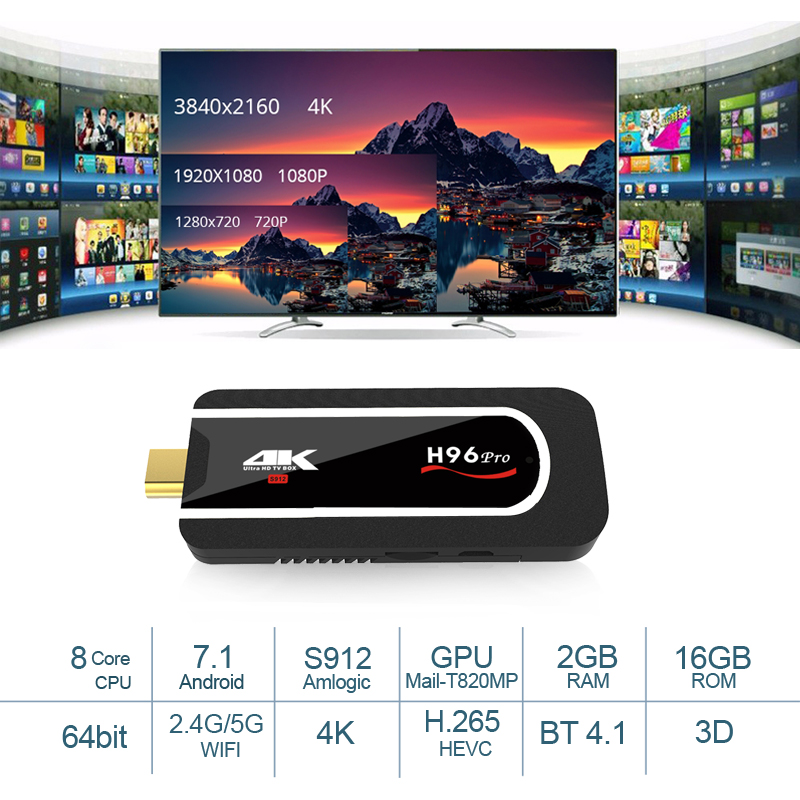 H96 Pro Amlogic S912 Octa Core TV Stick Android 7.1 2 GB 16 GB double Wifi Dongle TV BT4.1 1080 p 4 K HD Airplay Mini PC H96pro Plus