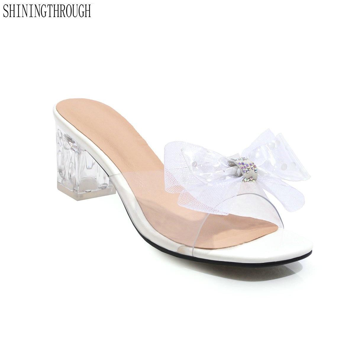 2019 Del Nuovo Del Pvc Pantofole Gelatina Sandali Open Toe Donne Tacco Quadrato Trasparente Perspex Pantofole Scarpe Tacco Argento Chiaro Beneficiale Per Lo Sperma