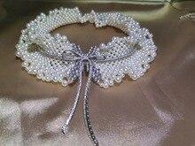Collier ras du cou avec des perles deau fraîche, du même style que les actrices chinoises, avec nœud papillon en argent 925, collier pour fêtes de mariage