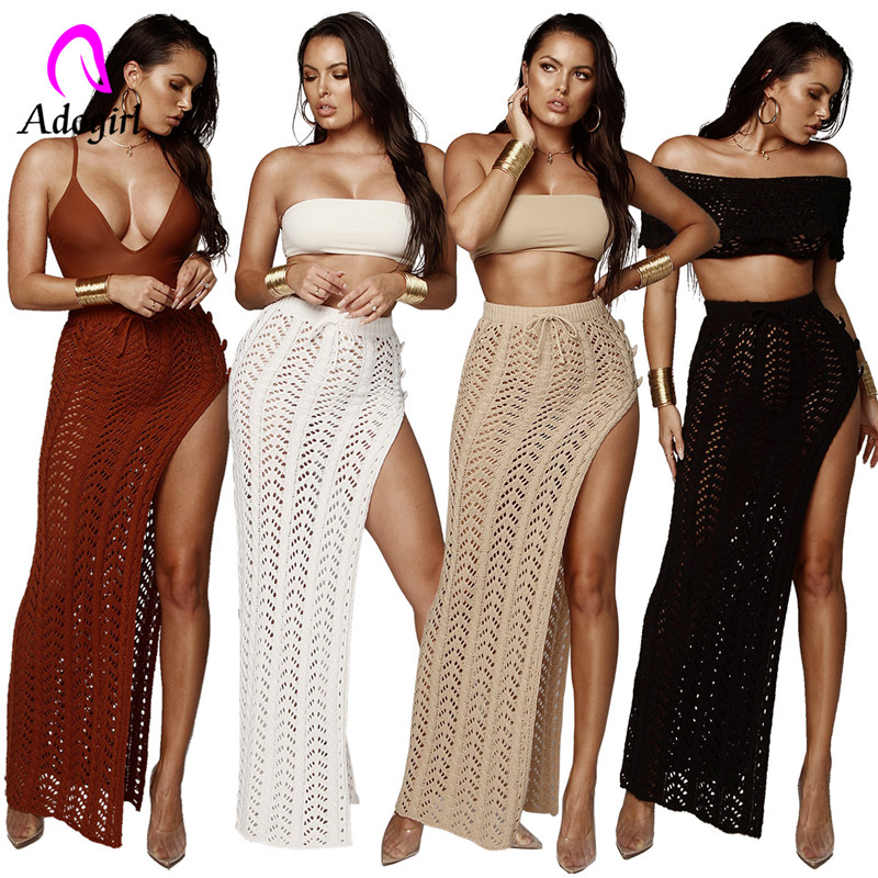 Adogirl Knitted beach women suits sexy hollow out high split bottoms solid slim summer sets night club two pieces set