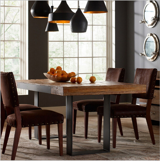American Iron wood dining tables and chairs style dining table