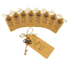 100pcs Vintage Key Shape Bottle Opener Alloy Ring Copper Keychain with Tags Gift on All Kinds of Wedding Styles Party Favors