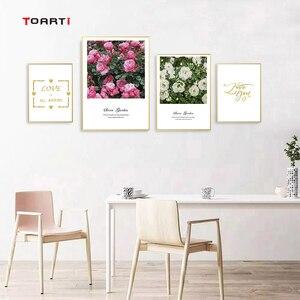 Image 3 - Северные цветы плакаты печать розовые розы холст картина на стене любовь художественная работа с цитатами картинки для гостиной украшение дома