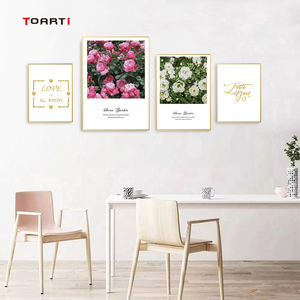 Image 3 - Nordic Flowers Posters Prints Pink Roses Canvas Painting On The Wall Love Quotes Art Pictures For Living Room Home Decoration