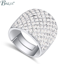 2017 New Fashion Kpop baru Crystal Elements Swarovski fashion The Open rings Wanita Bijoux Women Wedding Jewelry Wholesale(China)