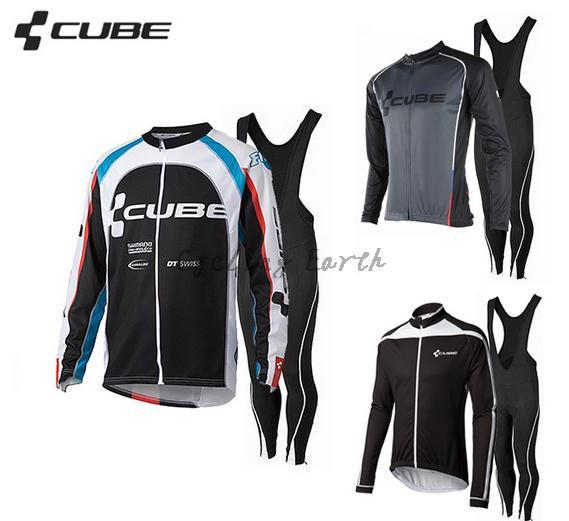 High Quality,CUBE 2015 #2 long sleeve autumn cycling wear clothes bicycle bike cycling Breathable jersey bib pants set