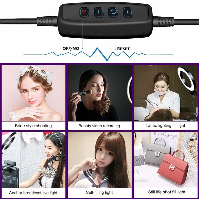 LED Light 16cm 64 LEDs Selfie Ring Lamp For Photographic Lighting with Tripod Mobile Phone 7