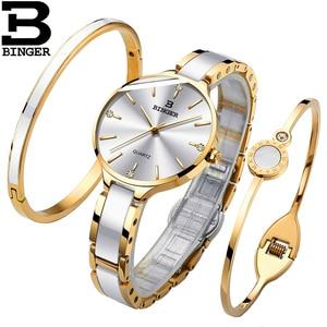 Image 4 - Suíça binger relógio de luxo feminino marca cristal moda pulseira relógios senhoras relógios de pulso feminino relogio feminino B 1185