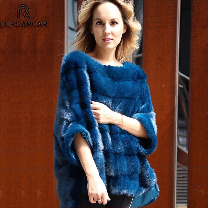 FURSARCAR роскошные женские реального норки шуба из натурального меха Пончо Природный зимняя куртка для женщин Полный Пелт реальный меховая на...