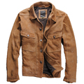 Retro Genuine Leather Leather clothing Lapel Scrub Sheepskin Do older Genuine Leather Coat Cowboy Yellow Men's leather jackets