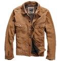 Retro Solapa ropa de Cuero de piel de Oveja de Matorral Cuero Genuino de Hacer mayores Amarillo chaquetas de cuero de Los Hombres de Vaquero de los hombres de Cuero Genuino