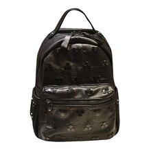 Ladies black casual shoulder rivet backpack soft leather female bag