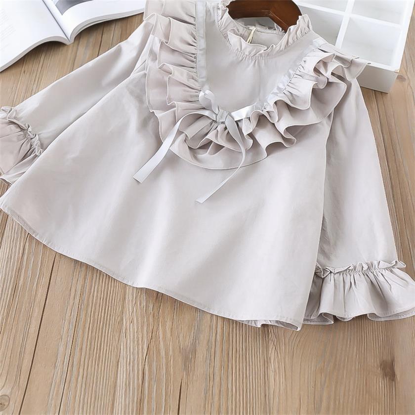 45-1-LT014-baby girl ruffles Solid blouses