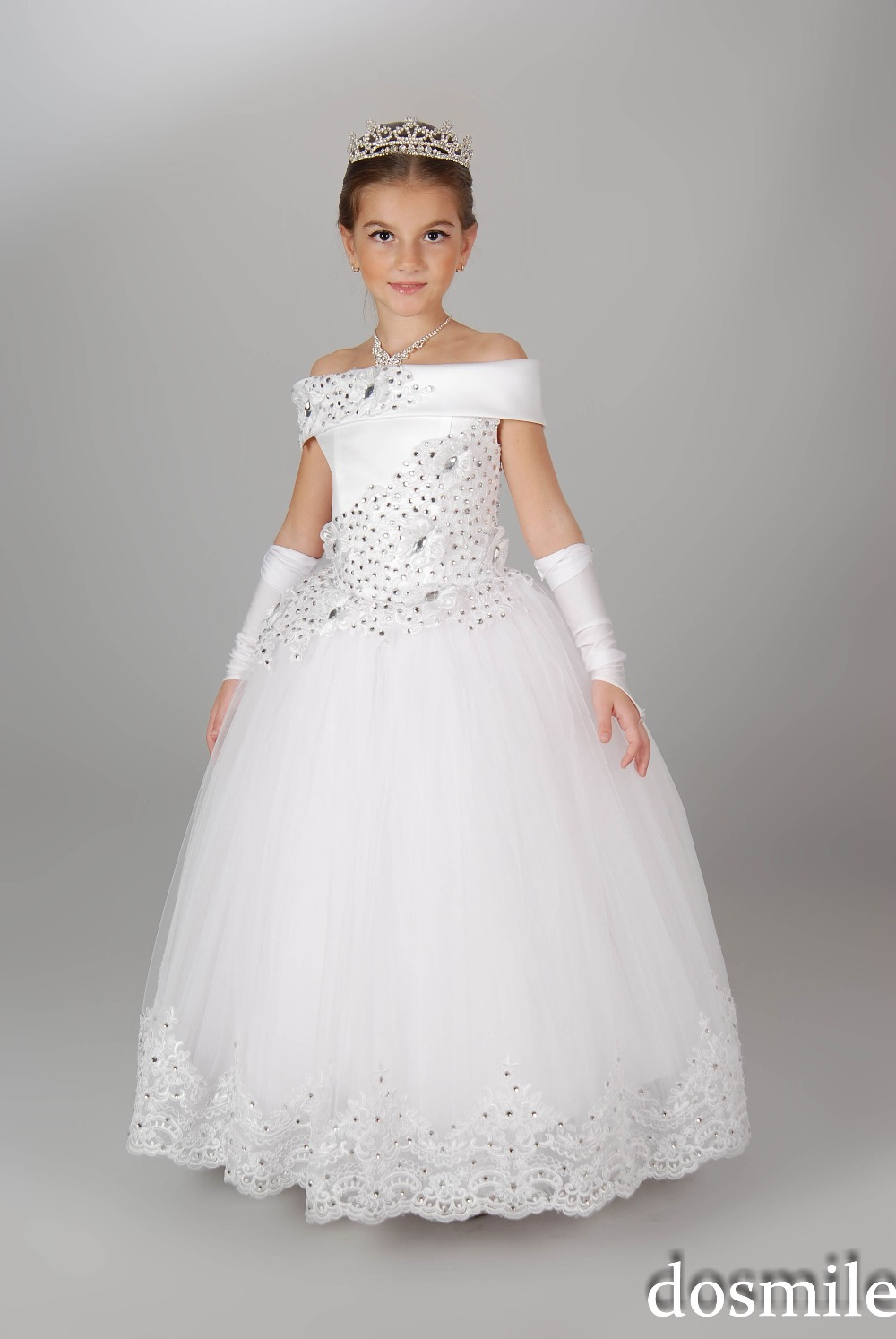 New Arrival White/Ivory Princess Lace Flower Girl Dresses with Crystals beading Ball Gowns for wedding party girls pageant dress