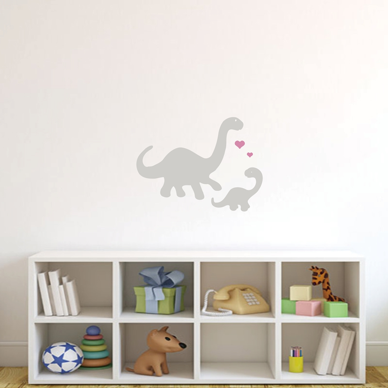 Mommy And Baby Dinosaurs Vinyl Wall Decal Stickers Dinosaur Art For Nursery Free Shipping P2039 In From Home Garden On
