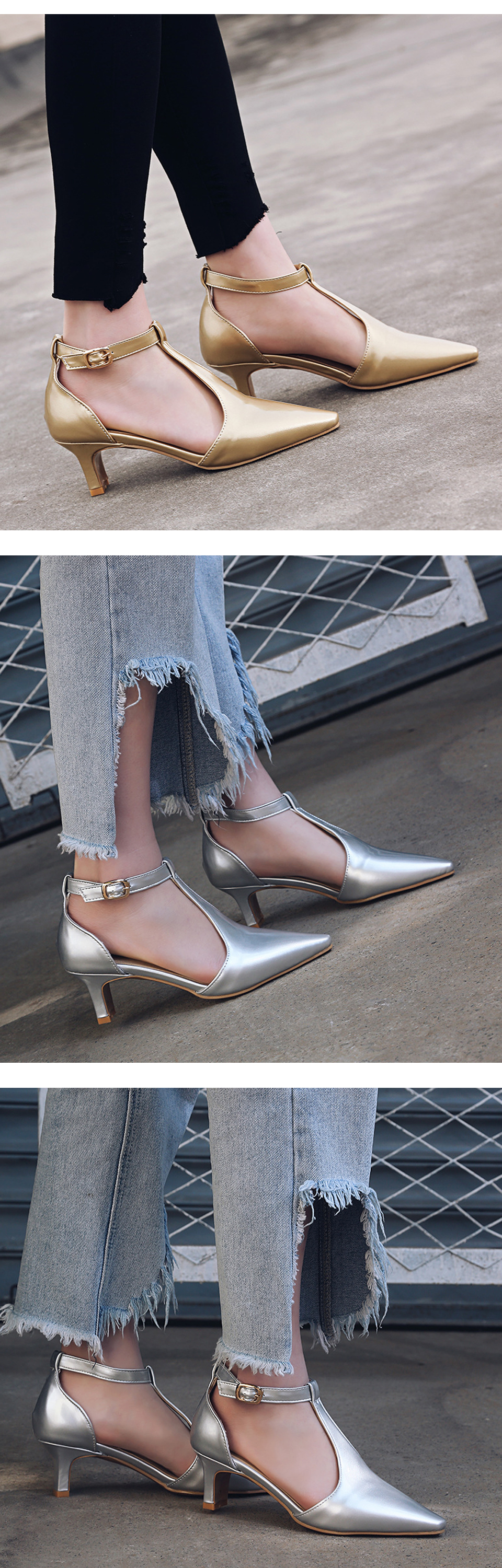 Shoes Woman High Heels Mary Jane Pointed Toe Women Pumps Brand Ankle Strap Summer Shoes Thin Heel Black Plus Size New Arrvial DE 5