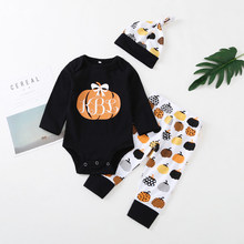 Baby boy girl clothes 2019 Spring and Autumn New Long Sleeve Pumpkin Pattern Print + Pumpkin Pants + Hat 3 Piece Set(China)