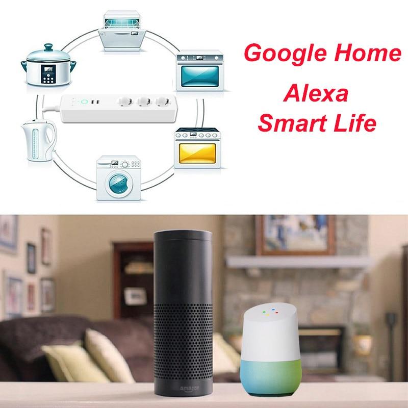 Prise intelligente prise Eu Wifi Smart multiprise Usb prise Eu 16A 4000 W vie intelligente App Google home Alexa commande vocale pour la maison - 4