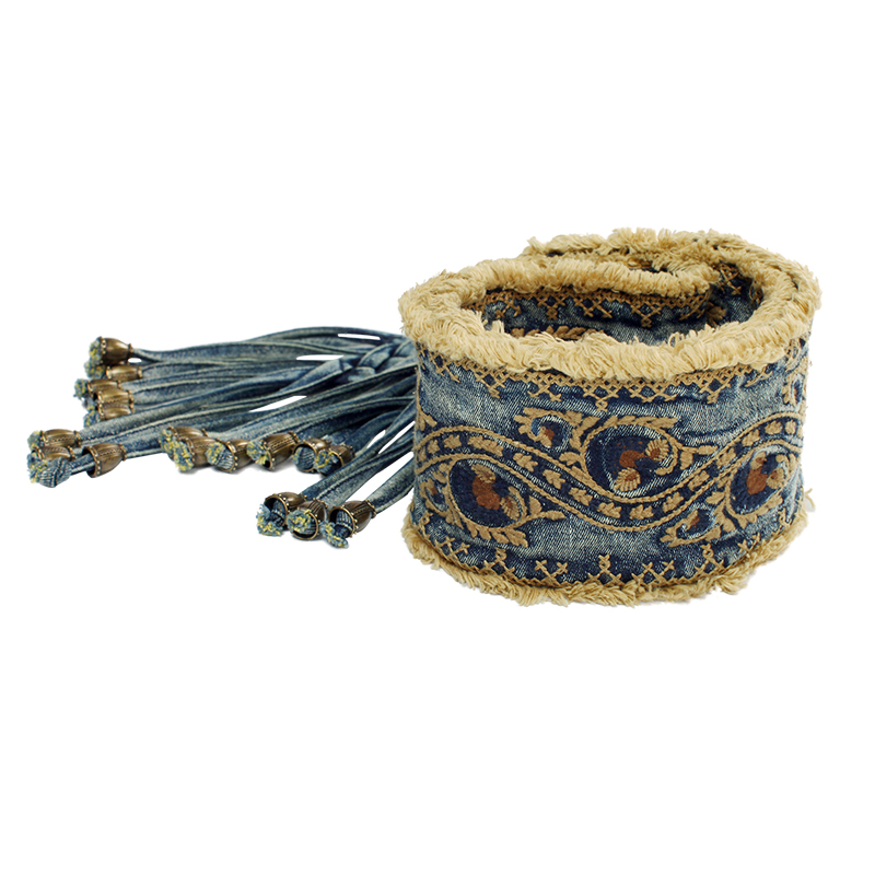 ARTKA Women's Summer New Provins Vintage Cotton Embroidered Decoration Practical Belt Casual All-Match Belt KG14051C