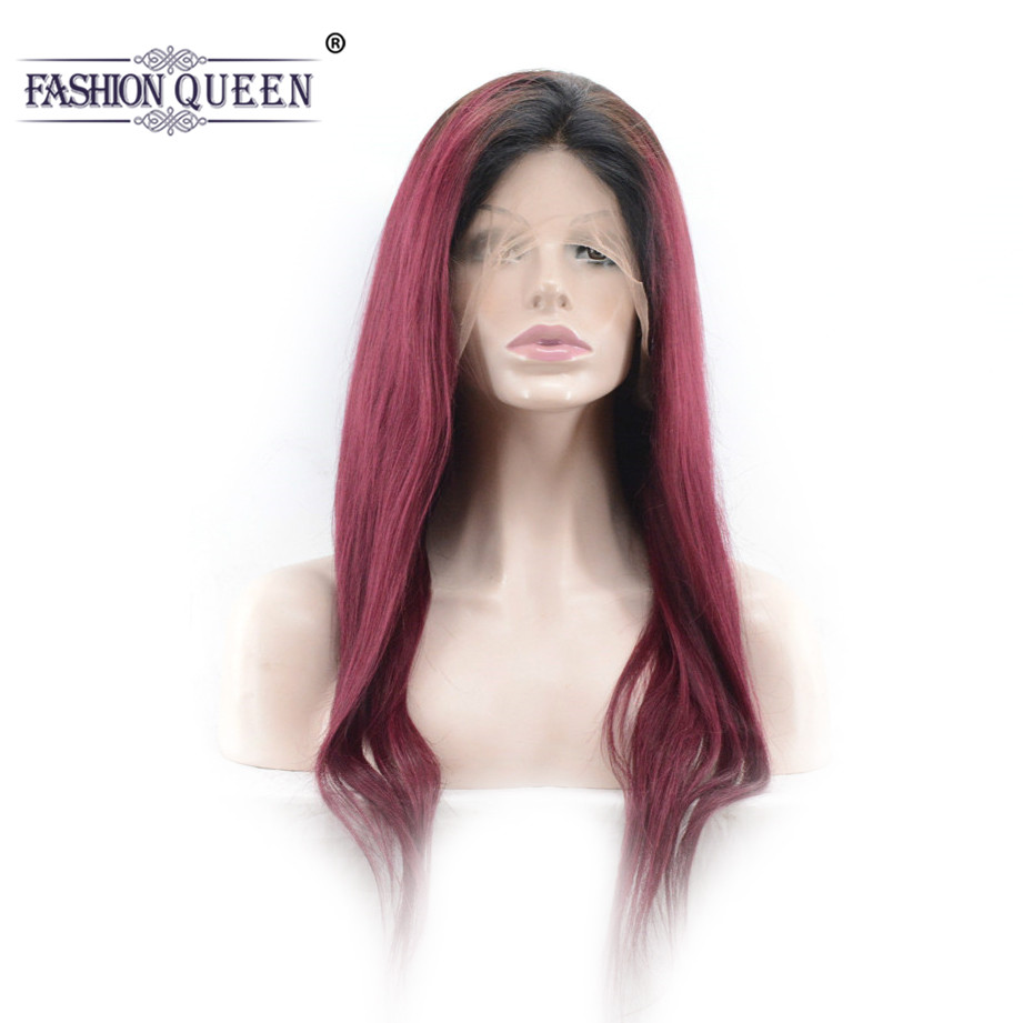 Fashion Queen Hair #1B/99J Color Ombre Peruvian Human Hair Wigs Full Lace Frontal Hair Wigs With Baby Hair Burgundy Remy Wig