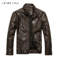 Autumn Winter Brand Leather Jacket Men 2018 Slim Brown Stand Collar Jaqueta Couro Bomber Jacket Faux