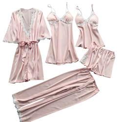 Для женщин пижамные костюмы Для женщин Пикантные белье Ночное белье пижамы 5 предметов летние пижамы ночной костюм a70