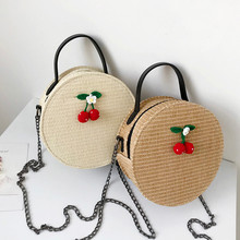 Womens Bag Vintage Crossbody Simple Weave Round Tote Handbag