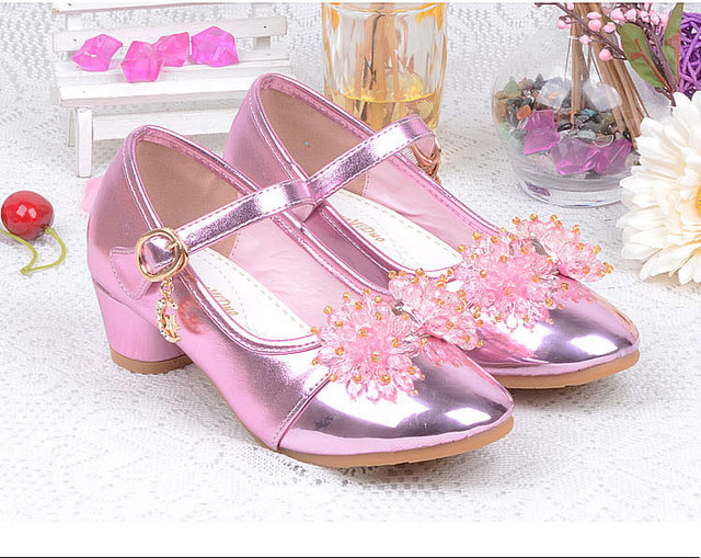 Hot sale girls princess shoes spring autumn party shoes PU single shoes kids leather shoes