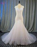 Waulizane Sweetheart Organza Mermaid Wedding Dresses Appliques Soft Tulle Chapel Train Vintage Bride Dress 2017 Wedding