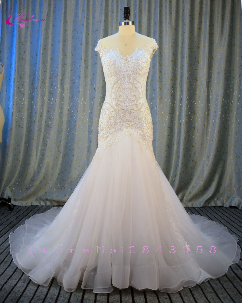 Waulizane Sweetheart Organza Mermaid Wedding Dresses Appliques Soft Tulle Chapel Train Vintage Bride Dress 2017 Wedding Gown