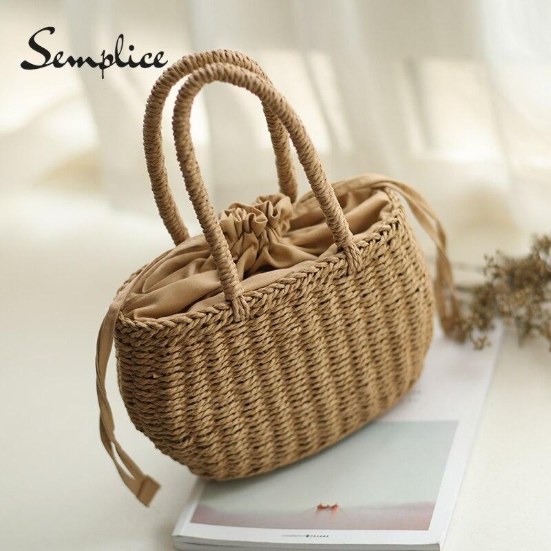Соломы ведро корзина сумка Для женщин ins жаркое лето Drawstring Tote небольшой сладкий корейский вязаный пляжная сумка, сумка для покупок ...