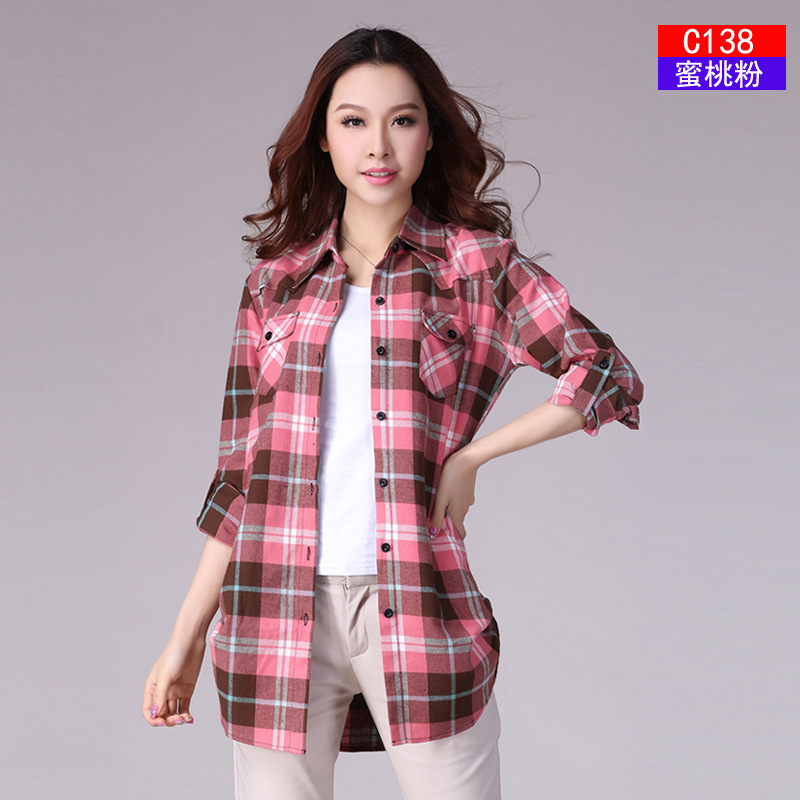 Jualan Hot Autumn Winter Ladies Perempuan Kasual Kapas Lapel Long Sleeve Plaid Shirt Wanita Slim Pakaian Pakaian Blouse Tops Pakaian