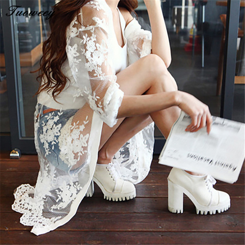 2018 Beach Summer sexy Women Casual Boho Kimono Cardigan White Lace Chiffon Loose Printed Blouse Shirt Plus Size Tops Beachwear